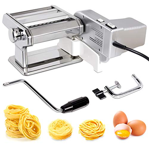 X Home Stainless Steel Electric Pasta Maker Machine with Motor Set 7 Adjustable Thickness Settings Noodles Maker with Washable Aluminum Alloy Rollers and Cutter for Homemade Lasagne Fettuccine