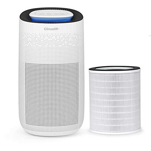 Climadiff – Purificador de aire AIRPUR3 – Purifique tu habitación de vida hasta 50 m2 – Destruye virus, bacterias, alérgenos y malos olores – Filtro HEPA13 y tecnología UV.