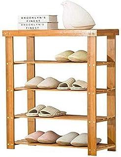 JJZXT 4 Tier Bamboo Shoe Rack, Stockage Bois Organisation, Organisateur Durable Naturel Environnement, Placard étagères Ca...