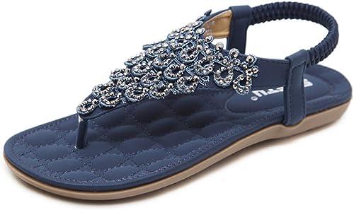 L-X Thong Sandals Mode D'été en Plein Air à à Chevrons Sangle Ethnic FFaibleer élastique Chaussures Plates, Bleu, 36 UE  nous prenons les clients comme notre dieu