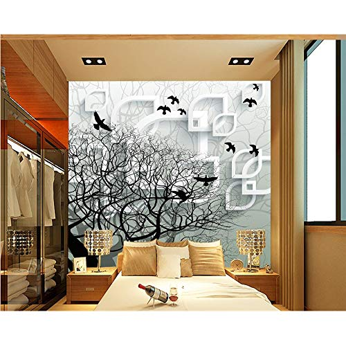 Shuangklei Home Decoratie 3D Behang Driedimensionale 3D Abstract Houten Vliegende Vogels Tv Bank Achtergrond Muur Behang 450 x 300 cm.