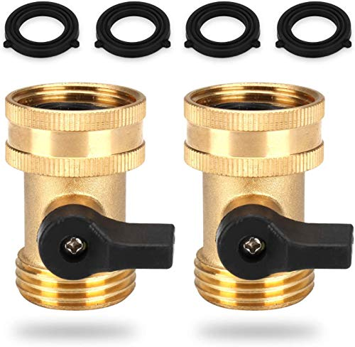 Brass Garden Hose Splitter 2 Way Y Faucet Splitter, Water Shut Off Valves Quick Connect, Heavy Duty Garden 3/4' Hose Connector with Extra Rubber Washers (2 x Shut Off Valve)