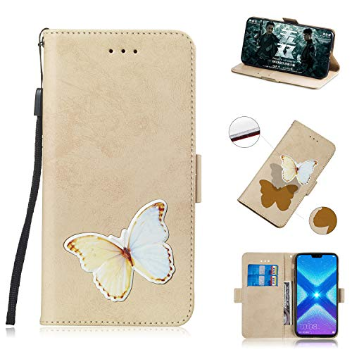 Clamshell Case Tasche Case Cases Magnetic Locked [Standfunktion] Schutzhülle Handyhülle für Huawei Honor 8X / Honor View 10 Lite (Gold)