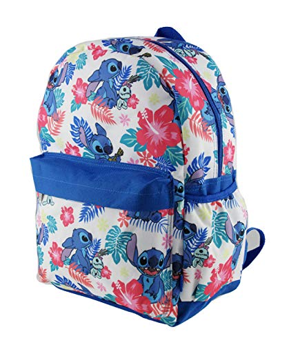 White Disney Lilo and Stitch Allover Print 16' Girls Large School Backpack (WHITE)