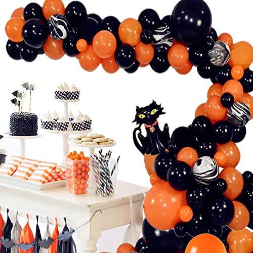 Yiran Halloween Balloons Arch Garland Kit 101Pcs Halloween Theme Balloons with Pumpkin Cat Black and Orange Latex Balloons Agate Balloons and Balloon Arch Kit for Halloween Party Decor Indoor Outdoor