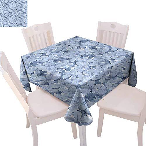 Zara Henry – Mantel Cuadrado de Microfibra, diseño de Flores de Plumbago, Color Azul