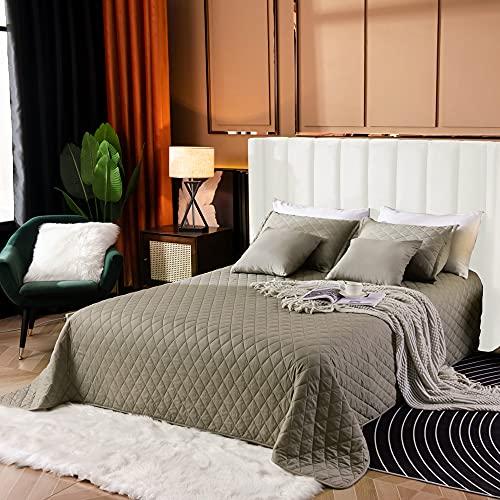5-teiliges Tagesdecken-Set aus 100 prozent Baumwolle TC600 【OLIVE】King-Size-Bett, vollständig wendbar, gesteppte Steppdecke, hochwertige Bettwäsche, Steppdecke, entsprechende Kissenbezüge & Kissen