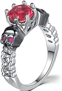 Jude Jewelers Women Retro Vintage Gothic Skull Pink Stone Cocktail Party Statement Biker Party Ring