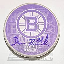 David Pastrnak Boston Bruins Signed Autographed Hockey Fights Cancer Puck