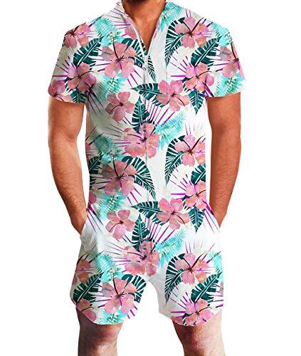 Fanient Mens Bro Romper Jumpsuit Flower One Piece Short Sleeve Slim Fit Playsuit With Pocket L