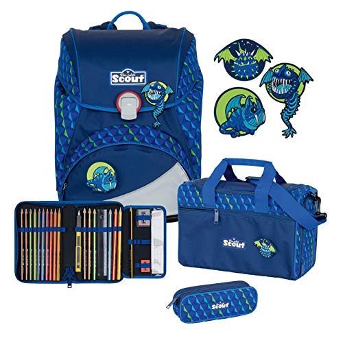 Scout Alpha Schulranzen Set 4tlg. mit Funny Snaps Flying Monsters