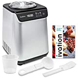 Ivation Automatic Ice Cream Maker Machine, No Pre-freezing Necessary with Built-in Compressor, Stainless Steel Gelato Maker, LCD Screen, Digital Timer, Removable Bowl, Clear Lid, 1.2 Quart