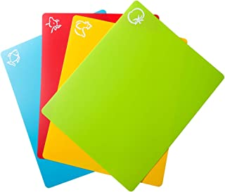 Carrollar Flexible Plastic Cutting Board Mats, Colored Mats With Food Icons, BPA-Free, Non-Porous, Gripped Back and Dishwasher Safe, Set of 4