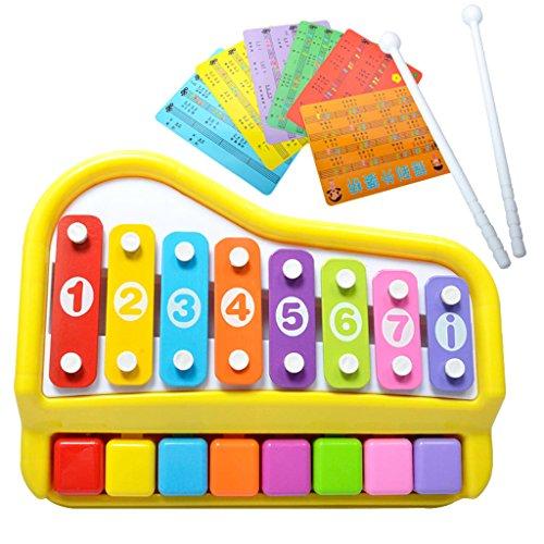 2 in 1 Klavier & Xylophon mit Liederkarten Glockenspiel für Kinder Musikinstrument Lernspielzeug