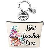 Teacher Appreciation Present for Women, Teacher Makeup Bag and Teacher Keychain, Teacher Present for Women Teacher Makeup Bag Pencil Pouch for Preschool High School Teachers (Best Teacher Ever)