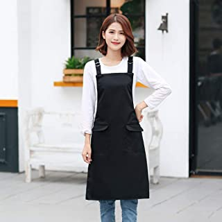 SEIFINI Waterproof Aprons for Women with 2 Pockets, Adjustable Professional Quality Bib Apron for Cooking Waterdrop Oil Resistant Kitchen Restaurant Grade Chef Apron Plus Size, Black