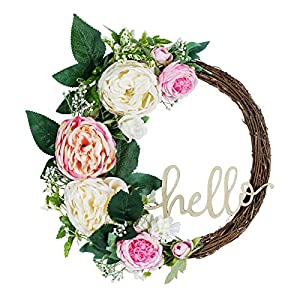 Shiny Flower Artificial Peony Wreath Handmade Flower Wreath with EucalyptusLeaves Summer Spring Grapevine Wreaths Decoration for Door Farmhouse Party Wedding Home Wall Hanging Decor