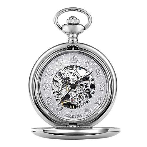 Reloj de bolsillo elegante clásico.Reloj de bolsillo de plata Números huecos mecánicos grabados Plata Mano viento Pocketwatch para el anciano reloj FOB con hombres mujeres cadena + caja de regalo ,Pun