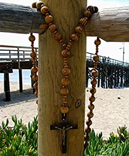"""col-p Super and Holy Big Mix Beads Sanctified Rosario Natural Catholic Wood Chain Jesus Cross XL Large 42"""" Inches Wall Christian Rosary"""