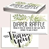 Diaper Raffle Tickets - Botanical - Set of 50 Double-Sided Raffle Cards - Blank Baby Shower Stationery - Fun and Colorful Baby Shower Supplies for Under $15!