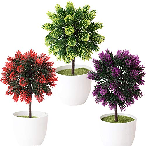 Fycooler Artificial Hops Plants Potted,Faux Hops Topiary Pine Ball Tree Plants Artificial Flower Hops Greenery Fake Tree Christmas For Home Kitchen Garden Office Desk Indoor Decor (11'' 3 Pack)