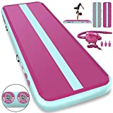 Furgle 10ft/13ft/16ft/20ft Inflatable Airtrack Gymnastics Tumbling Floor Mat,Tumble Track Air Mat,Home Use Air Tracks with Electric Air Pump for Kids/Gym/Training/Pool (16ftx3.3ftx8inch, Pink)