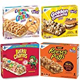 Cereal Bar Variety Pack- Lucky Charms, Cinnamon Toast Crunch, Reese's Puffs, Golden Graham Snack...