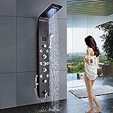 Panel de ducha LED de acero inoxidable Juego de ducha negro Mezclador de ducha 6 funciones Pantalla de temperatura con cabezal de ducha en cascada Boquilla de masaje corporal Ducha de mano y caño de
