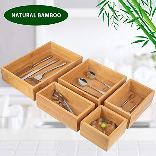 5-Piece Storage Box Dividers Set Drawer Organizer with 100 Natural Bamboo Silverware Tray for Office Desk Supplies and Accessories Bathroom Kitchen