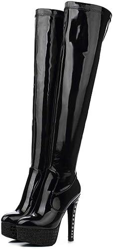 YOMO Femmes Cuissardes Cuissardes Au Dessus Du Genou Aiguille Plate-forme Fermeture Eclair Bottes Chaussures  40% de réduction