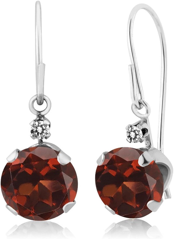 2.03 Ct Round Red Garnet White Diamond 14K White gold Earrings