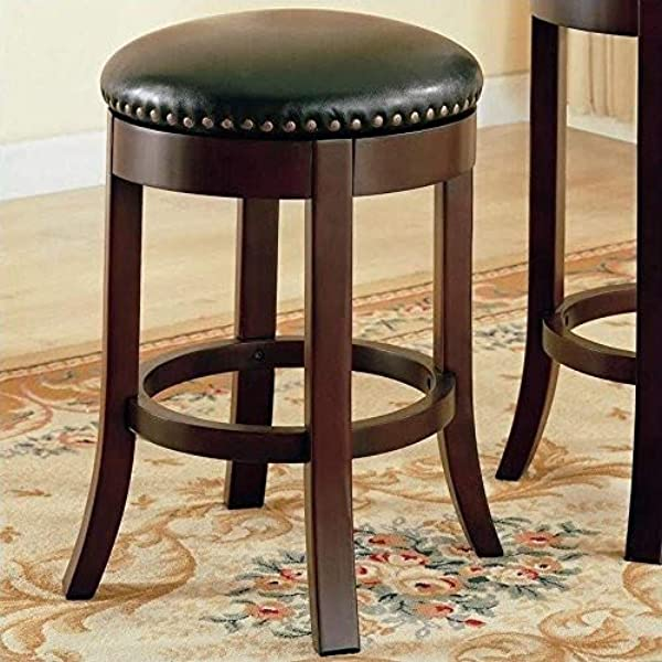 24 Swivel Counter Stools With Upholstered Seat Walnut And Dark Brown Set Of 2