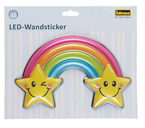 Idena Mantiburi 31256 Sticker mural LED en forme de lampe arc-en-ciel avec capteur de lumière Env. 22 x 13 cm