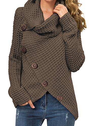 GRECERELLE Women's Solid Color Chunky Button Pullover Sweater Turtle Cowl Neck Asymmetric Hem Knit Sweater Dark Khaki-X-Large