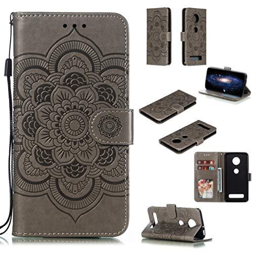 LingDan Schutzhülle für Motorola Moto Z4 Play (6,22 Zoll) PU Lederhülle Flip Cover Präge Mandala Blumen Muster mit Ständer Magnetverschluss Kartensteckplatz Brieftasche Handyhülle, Grau