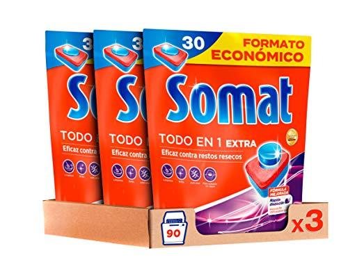 Somat Todo en 1 Pastillas Detergente para Lavavajillas, Pack de 3 x 30 Lavados, Total 90 Lavados