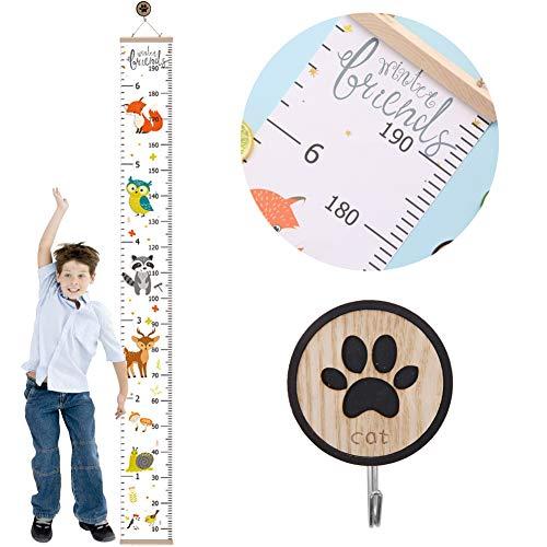 Kinder-Messlatte, Kinder-Messlatte zum Aufhängen, Babywachstumstabelle Wandlineal mit Holzhaken (CartoonB)