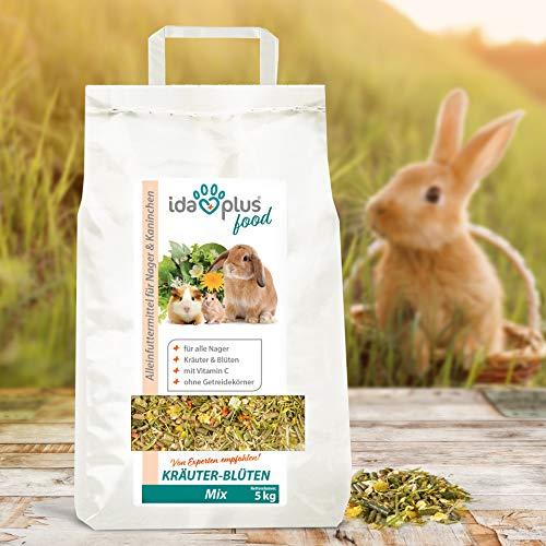 Ida Plus – Kräuter-Blüten Mix 3,5 kg – Abwechslungsreicher Futter-Mix für Nager: Kaninchen, Zwergkaninchen, Hamster, Meerschweinchen, Chinchillas usw. – mit Karotte & Luzerne + Vitamin C - 5
