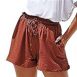 N\P Short pour femme taille haute avec deux poches et cordon de serrage élastique durable - Rouge - XL
