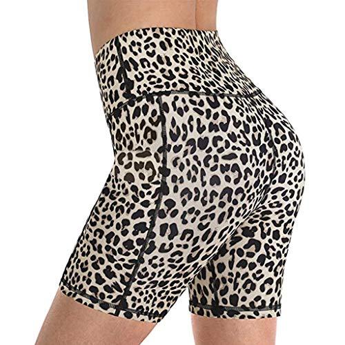 catmoew Damen Yoga Shorts Kurz Laufhose Sport Workout Jogginghose mit Taschen Sommer Gym Scrunch Fitness Leggings