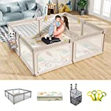Mloong Baby Playpen with Hanging Diaper Caddy, 71x79in Extra Large Playpen for Babies, Infant Playpen Activity Center with Anti-Slip Base for Toddlers, Safety Baby Fence with Gate