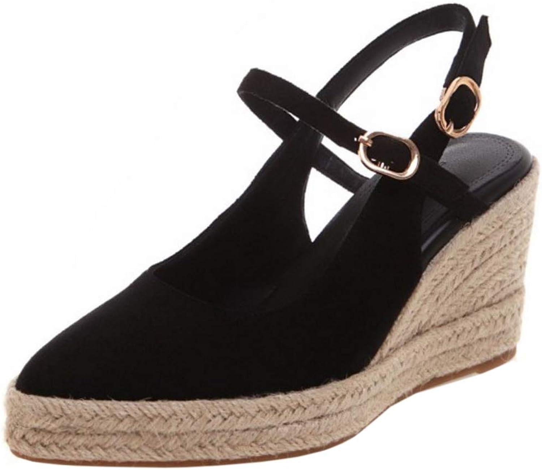 FANIMILA Women Leisure High Heel Wedge Sandals Braid Summer shoes