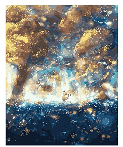 Pintura del Bosque de la fantasía por los números Pintura al óleo Abstracta del árbol del Cielo en la Cabina de la Lona