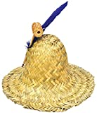 SKS Novelty Hillbilly Straw Hat Farmer Feather & Corn Pipe Redneck Adult Costume Accessory