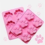 RoseFlower 6 Cavidades gato pata dibujos animados pata de perro huella molde de silicona pastel, pastel chocolate pudín jalea jalea muffin DIY herramienta para hornear, 18.5 * 14 * 1.5 cm