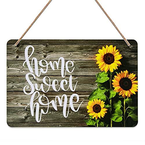 FaCraft Home Sweet Home Decor Sign,8'X12' Rustic Sweet Home Welcome Hanger Front Door Sign,Sunflower...