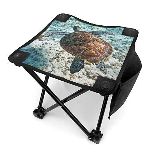 Florasun Taburete plegable de camping con diseño de tortuga verde del mar Caribe, portátil, para camping, caza, pesca, viajes, con bolsa de transporte