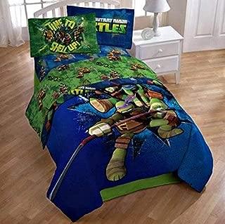 Nickelodeon Teenage Mutant Ninja Turtles Full Reversible Comforter and Sheet Set 5 piece 100% Polyester Microfiber
