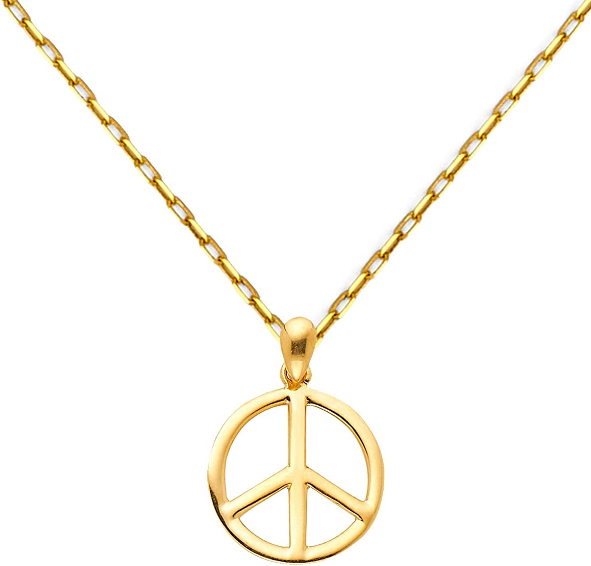TGDJ 14k Yellow Gold Peace Max 90% OFF Directly managed store Sign Pendant 0.9mm Chain Cable with N