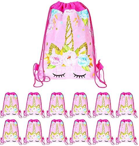 SIMUER 15Pcs Mochilas Unicornio, Bolsas con Cordón Mochila Party Bolsas Tela no Tejida Escolar Hombro Mochila de Viaje Bolsa de Baile Gimnasio para Adolescentes Niños niñas Cumpleaños